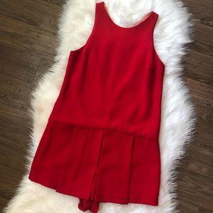 Zara Pleated Red Romper